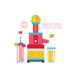 Mixer juice fresh fruits and vegetables kitchen vector