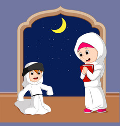 muslim family cartoon vector image
