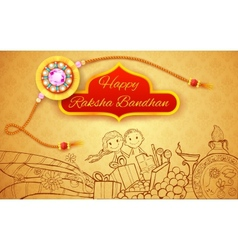 Raksha Bandhan doodle vector image vector image