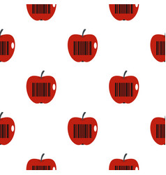 Red apple with barcode pattern flat vector
