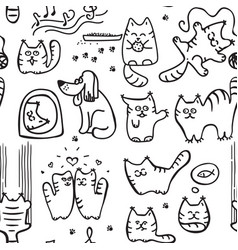scetched doodle cat pattern vector image
