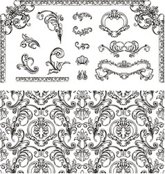 Seamless pattern and design elements vector image