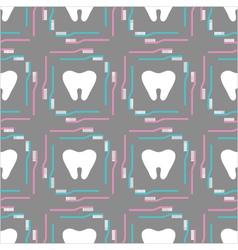 seamless pattern of tooth brushes and teeth vector image