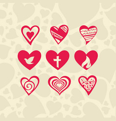 Set of hearts and christian symbols vector