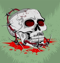 Skull with steel barbed wire vector