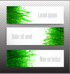 Three banners with fresh green grass on white vector