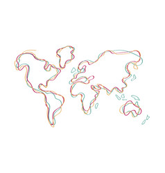 World map doodle color outline hand drawn art vector