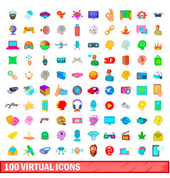 100 virtual icons set cartoon style vector image