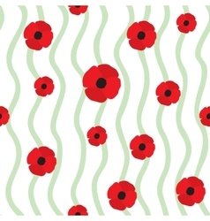 Red poppy seamless pattern vector