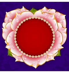 Pink rose heart frame vector