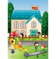 Children playing in the neighborhood park vector image