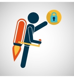 growth concept business padlock security icons vector image