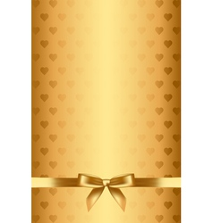 gold background with hearts and bow vector image