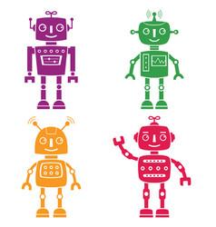 robots silhouettes set vector image