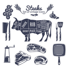 Steaks vintage style icons set vector