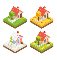 Isometric house 3d icon real estate symbol meadow vector