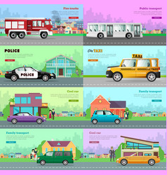Modern city transport flat web banners set vector