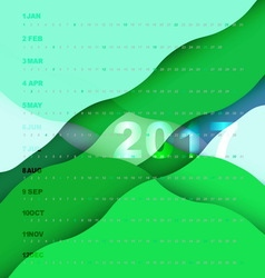 2017 calendar on green abstract background vector image