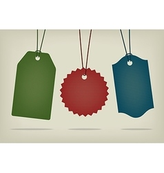 Set of blank textured hanging pricing tags vector