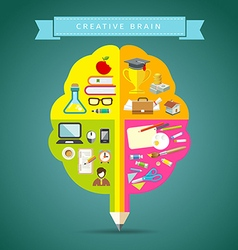 Creative brain concepts design with business icons vector