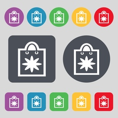 Shopping bag icon sign a set of 12 colored buttons vector