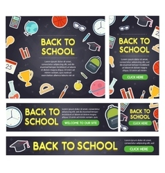 Back to school banner set different sizes vector
