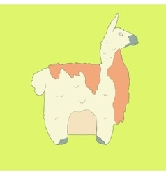 Flat hand drawn icon of a cute lama vector