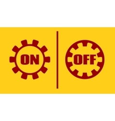 On off power buttons text in gears vector