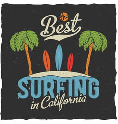 best surfing in california poster vector image vector image
