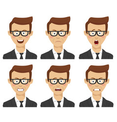 businessman with various avatar expressions set vector image vector image