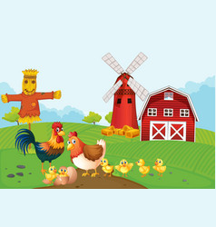 Chickens on the farmland vector