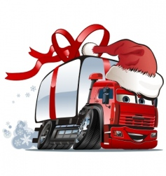 Christmas delivery cargo truck vector image