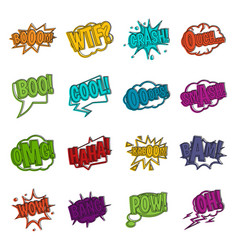 comic colored sound icons doodle set vector image vector image