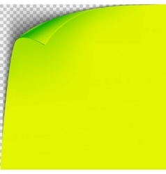 Curl corner yellow paper template Transparent vector image vector image