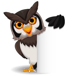 Cute owl cartoon posing with blank sign vector image
