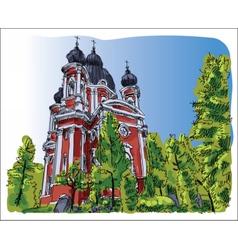 Digital sketch of curchi monastery vector image vector image