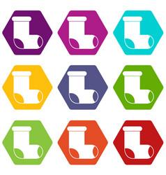 felt boot icon set color hexahedron vector image vector image