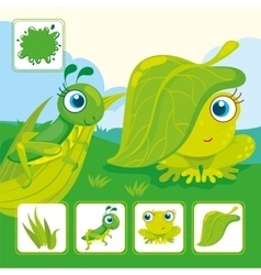 Green grasshopper with frog vector