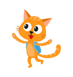 happy cat kitten student character with backpack vector image vector image