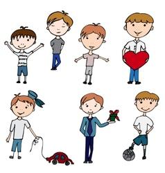 happy kids little boys vector image vector image