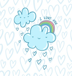 I love you blue valentine clouds vector