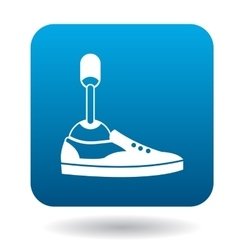 Leg prosthesis icon in simple style vector