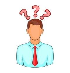 Man with question marks icon cartoon style vector
