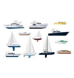 Motor boat and sailboat set vector