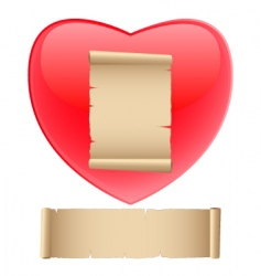 red heart with old paper vector image vector image