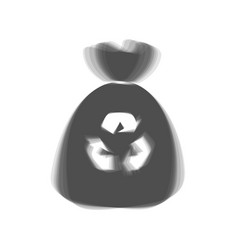 Trash bag icon gray icon shaked at white vector