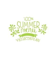 Vegetarian Summer Menu Calligraphic Cafe Board vector image