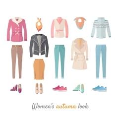 Women s Autumn Look Concept in Flat Design vector image vector image