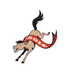 Year of horse 2014 jumping cartoon vector