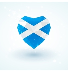 Flag of scotland in shape diamond glass heart vector
